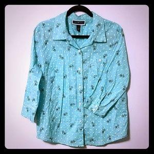Darling aqua bicycle polka dot 3/4 sleeve blouse